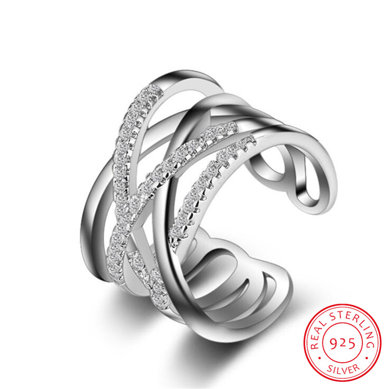 Korean Style 925 Sterling Silver Opening Ring Multi-layer Line Cross Mosaic Zirconia Ring Bague anillos For Women Jewelry S-R243