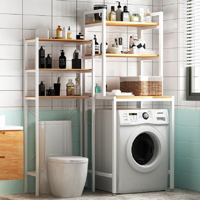 New Bold Washing Machine Rack Floor Type Bathroom Shelf Toilet Shelf Bathroom Shelf  Sorting Shelf, 3-layer Metal Laundry Rack