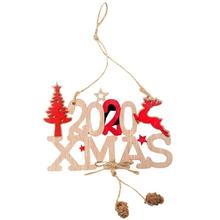 DIY Wooden Hemp Crafts Pendant Hollow Christmas Tree Ornaments 2020 Letter Party Decorative Accessories Kids Gift