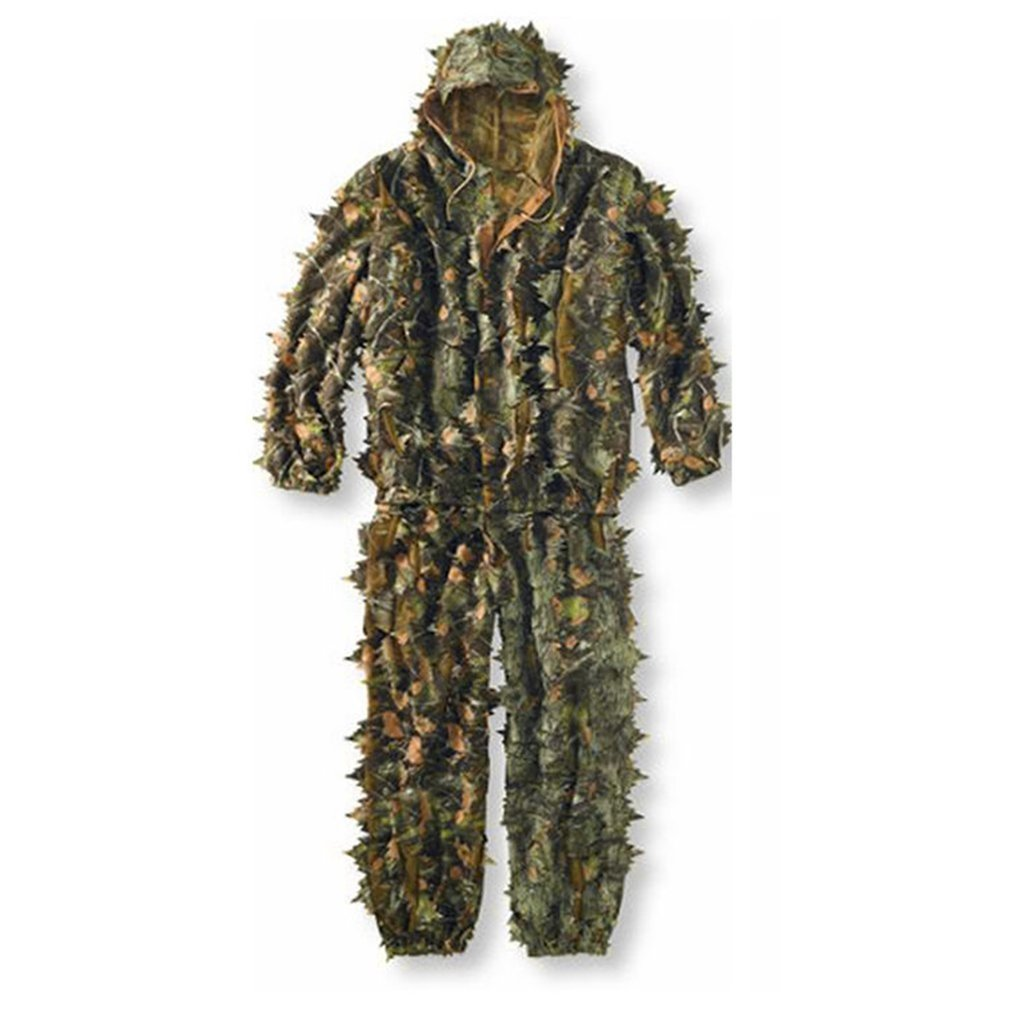 3D Leaves Camouflage Poncho Cloak Stealth Suits Outdoor Woodland CS Game Clothing Universal For Hunting Shooting