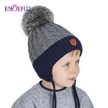 ENJOYFUR зимние детские шапочки из натурального Лисьего меха, шапка с помпоном, вязаная шапка для мальчика, хлопковая шапка с защитными ушами, теплые толстые детские вязаные шапки