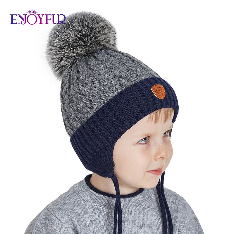 ENJOYFUR Winter Baby Hats Real Fox Fur Pompom Hat Knitted Boy Cap Cotton Protect The Ears Hat Warm Thick Kids Beanies