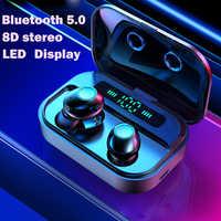 Fone de ouvido sem fio tws bluetooth fones de ouvido sem fio handsfree fones bluetooth esporte display led para todo o telefone