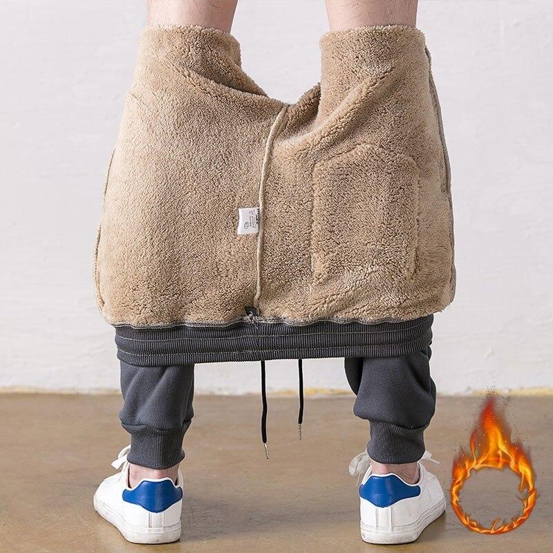 Autumn Winter Korean Thick Fleece Slim Jogger Mens Pants Solid Trousers Male Warm Sweatpants Tracksuit Joggers Pantalon Homme