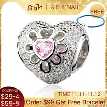 ATHENAIE 925 Sterling Silver with Pave Clear CZ & Pink CZ Heart Blooms Bead Charms  Fit European Bracelets & Bangles