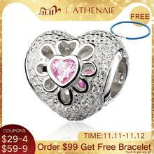 ATHENAIE 925 en argent Sterling avec pavé clair CZ & rose CZ coeur fleurs perles breloques ajustement Bracelets et Bracelets européens