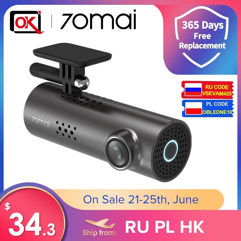 70mai Dash Cam 1S Видеорегистраторы для автомобилей для Английский Голос Управление и 70 Mai 1S WI-FI Беспроводной подключения 1080P HD Ночное видение