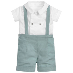 Комплект детской одежды для мальчиков, костюм для крещения, испанская одежда, белая рубашка и штаны, вечерние костюмы для новорожденных