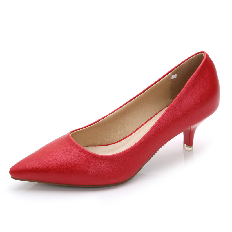 Fashion Pumps Heeled-Shoes Pointed-Toe High-Heels Pink Women Ladies New Med for Red JS-A0005