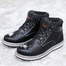 Winter Warm Mannen Snowboots Hoge Top Bont Heren Laarzen Mode Fluwelen Mannen Laarzen Casual Men'S Schoenen Pluche Size Warm enkellaars 40-46(China)