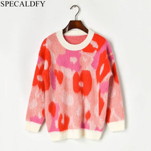 2019 Winter Thick Sweater Women Long Sleeve Floral Mohair Sweaters And Pullovers Runway Casual Jumper Pull Femme(China)