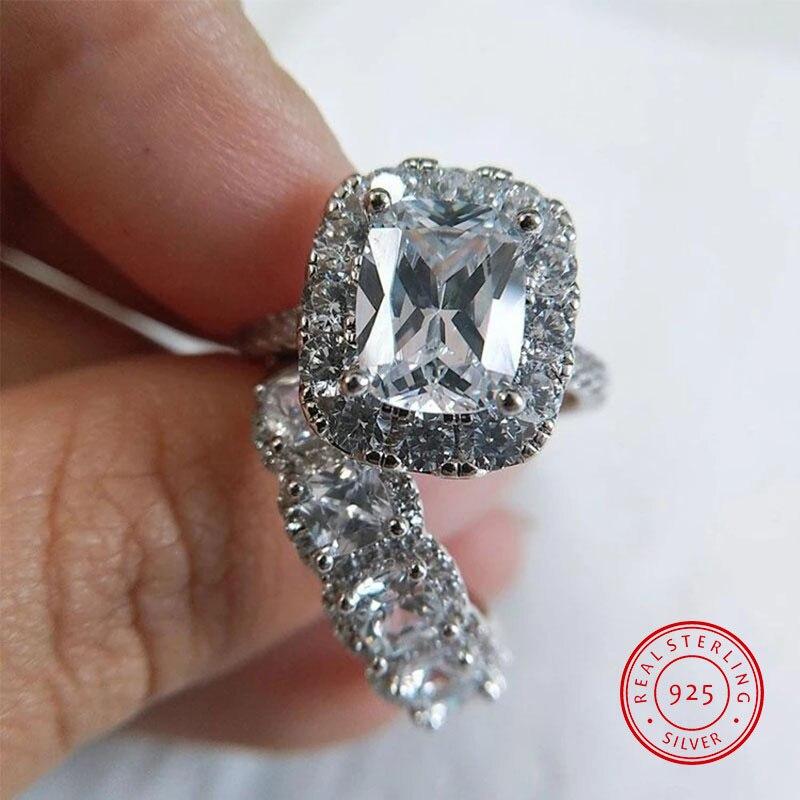 Mode cristal Zircon une paire 925 en argent Sterling anneaux pour femmes hommes Couple mariage fiançailles luxe anneau cadeaux pour les femmes