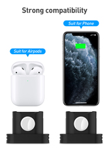 Henzarne 3in 1 Charging Dock For iPhone X XR XS Max 8 7 Apple Watch Airpods Charger Holder airpods Mount Stand Station