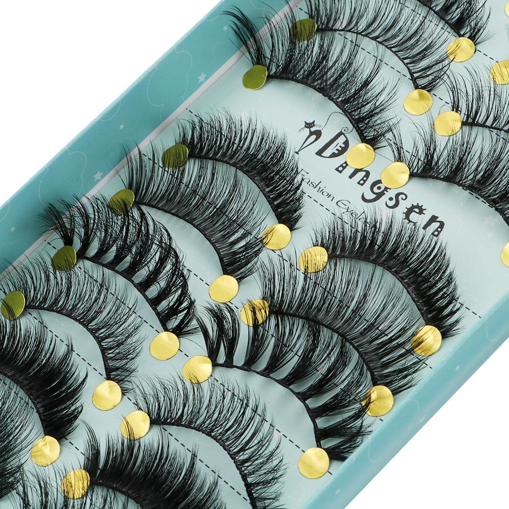 LEKGAVD 10 Pairs Mixed Styles 3D Faux Mink False Eyelashes Winged Criss-cross Fluffy Wispies Lashes Eye Makeup Handmade Eyelash