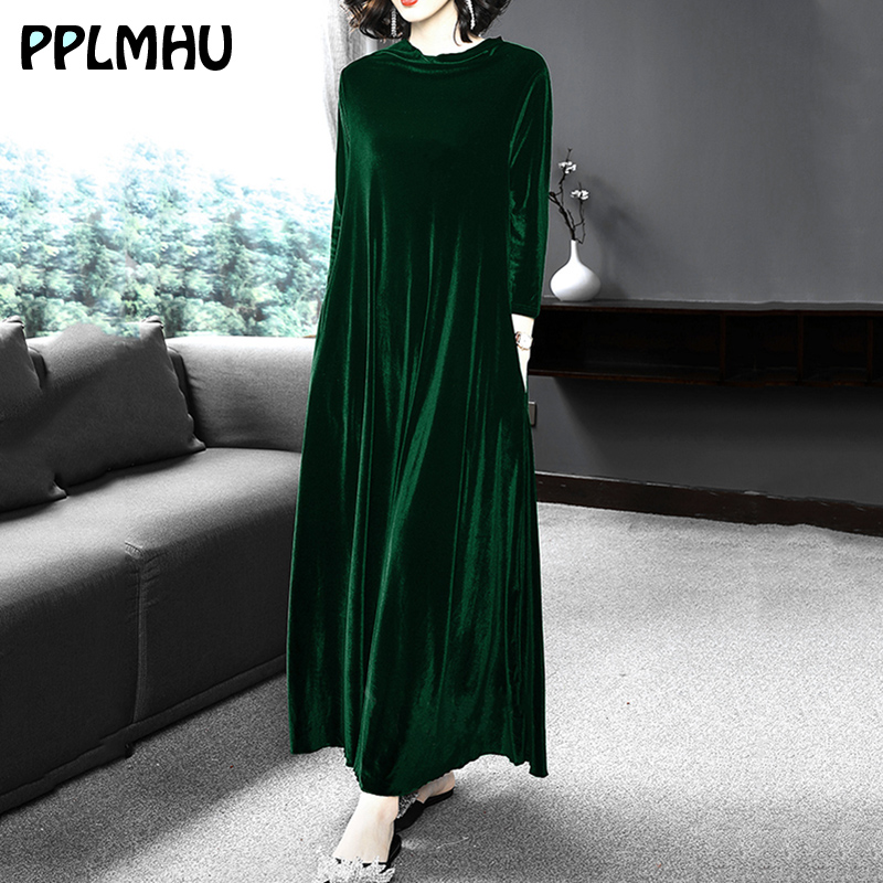 Women Plus Size 6XL 5XL Velvet Dresses Middle Aged Winter Casual Loose O-neck Long Sleeve <font><b>Maxi</b></font> <font><b>Vintage</b></font> <font><b>Vestidos</b></font> Wine Red Black image