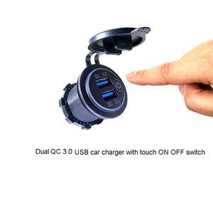 Image 4 - Double chargeur USB QC3.0 avec LED interrupteur tactile pour téléphone portable de moto de voiture
