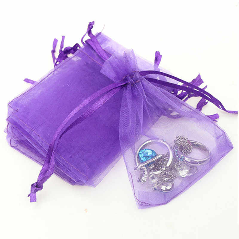 100pcs 21 Colors Jewelry Bag 7x9 9X12 10x15 13x18cm Wedding Gift Organza Bag Jewelry Packaging Display & Jewelry Pouches White