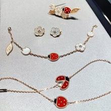 Hot Newest Luxury Brand 925 Sterling Silver Jewelry Flower Ladybug Leaf Neckalce Earrings Bracelet Set For Women Fashion Bijoux