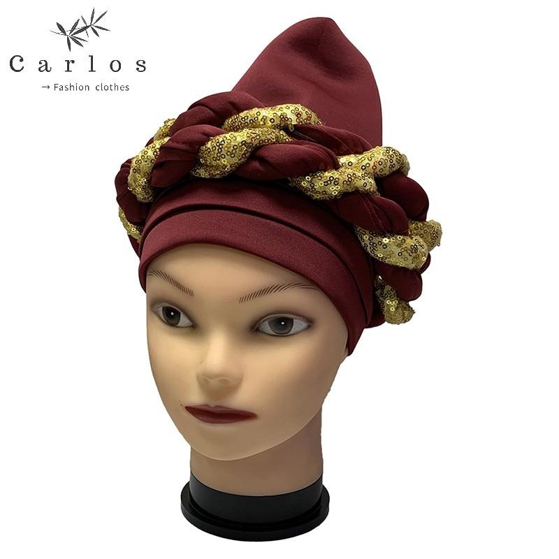 2021 High Quality Newest Elegant Turban Hats Women Cap Beaded For India  Scarfs Head Wrap Headband Girl Hair Accessories Lady