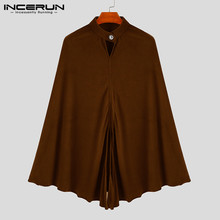 Зимний мужской плащ-Тренч, однотонный модный воротник-стойка, уличная шикарная накидка, пальто, свободные куртки, мужские ветровки INCERUN