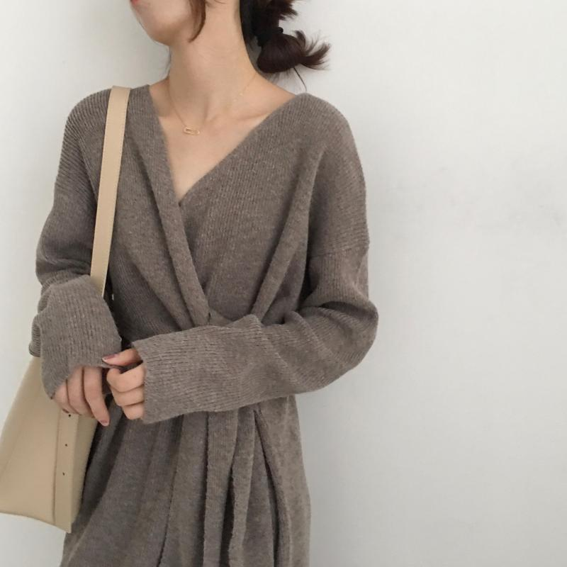 Hf7d66fc262464d2ca6cfa473c7a815d8F - Winter Korean V-Neck Long Sleeves Knitted Dress
