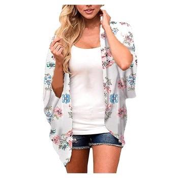 Women's summer short-sleeved leopard print floral print top fashion women's leopard print/floral chiffon loose top cardigan
