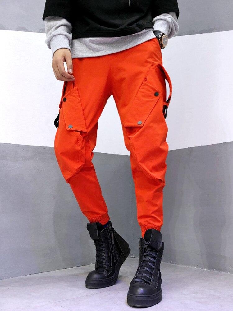 Nouvelle couleur vive personnalité harem pantalon orange mode marée homme personnalité faisceau pied outillage pantalons décontractés hommes pantalons