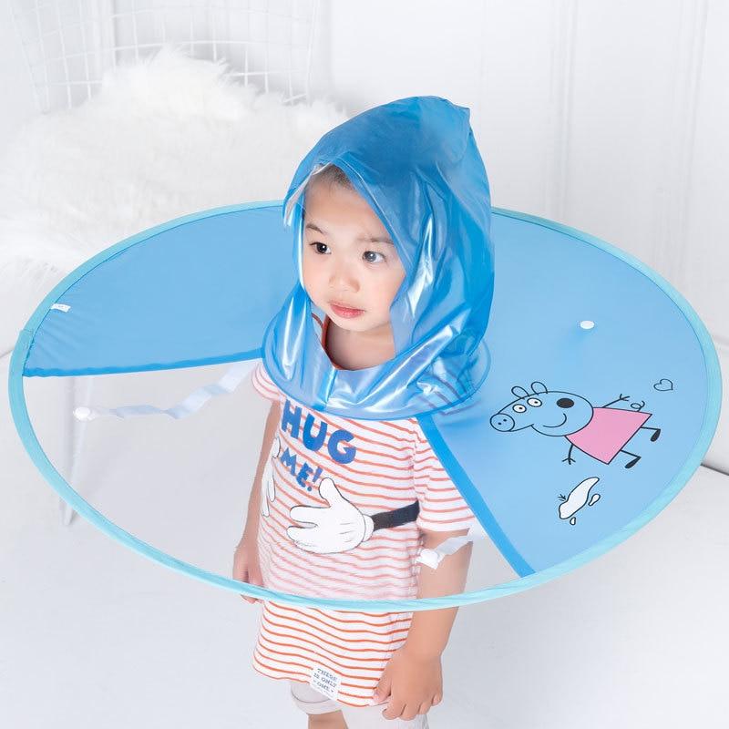Cute Cartoon Rain Coat UFO Children Kid Umbrella Hat Magical Hand Free Raincoat