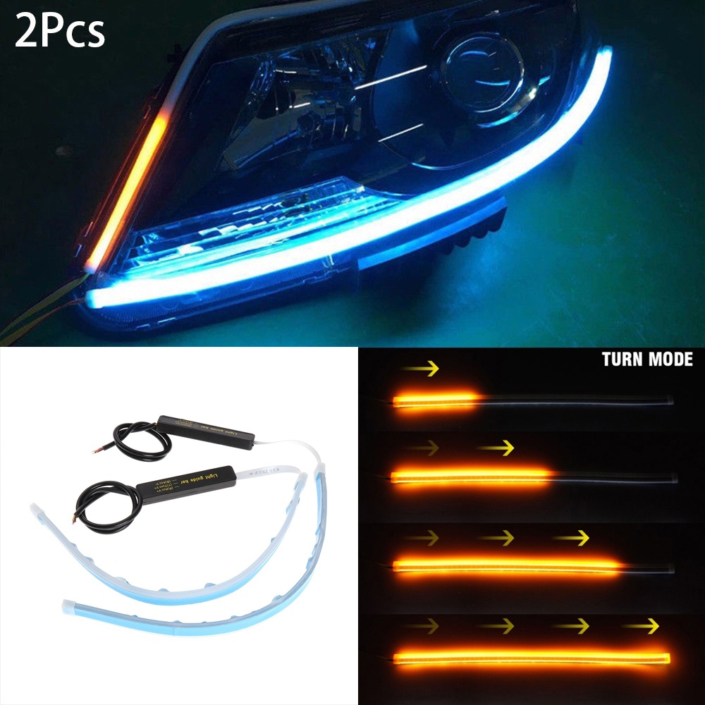 2pcs 30/45/60mm Ultra Thin Double Color Car Soft Tube LED Strip DRL Flowing Turn Signal Lamp Daytime Running Strip