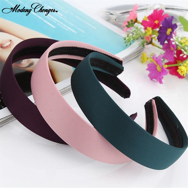 Fashion Simple Smooth-faced Satin Hairband Hairhoop Temperament Solid Color Wide-brimmed Headband  Woman Girls Hair Accessorise
