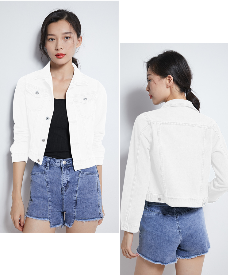 Hf7d706b5d09f4f5abd4f8113f56365cdF 2019 Fashion Jeans Jacket Women Spring 2XL XL Spring Autumn Hand Brush Long Sleeve Stretch Short Denim Jacket White Pink Coats