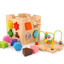 Shape Sorting Cube Classic Wooden Toy Music block Developmental Easy-to-Grip Shapes Sturdy Construction