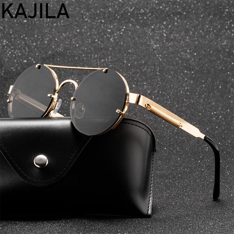 Round Steampunk Sunglasses Men 2021 Fashion Elastic Temples Brand Designer Vintage Rimless Sun Glasses For Women Lentes De Sol