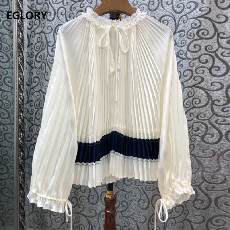 Haute qualité coton Blouse 2019 automne blanc hauts noirs femmes à volants col couleur bloc décontracté lâche manches longues chemise plissée