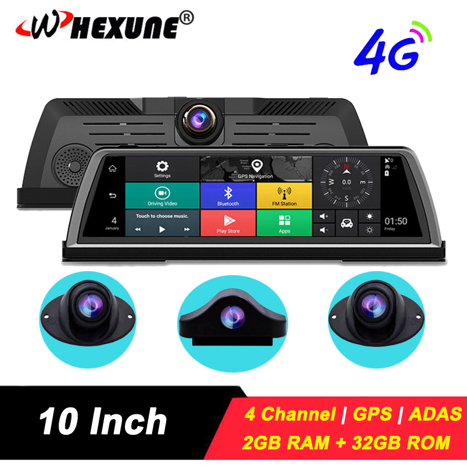 WHEXUNE 2 ГБ + 32 ГБ Anroid Автомобильный видеорегистратор Dash камера FHD 1080P 4G wifi ADAS gps навигация 4 канала приборной панели видеорегистратор Регистрато...