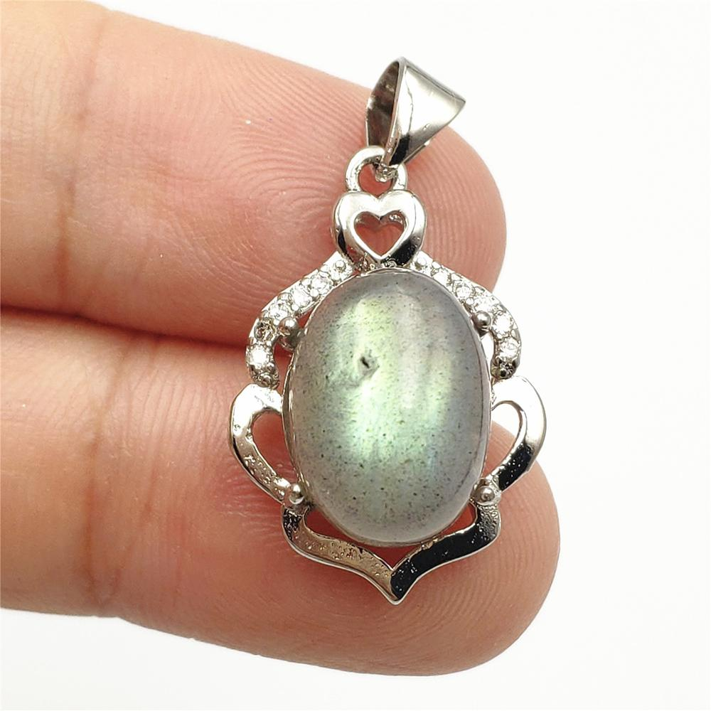 100% Natural Rainbow Light Labradorite Pendant Gemstone Women Men 23x15mm Gift Rectangle Crystal Moonstone Pendant AAAA