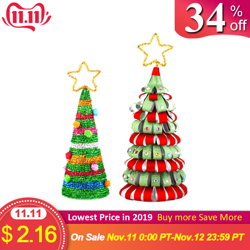 Homemade DIY Christmas Tree Detachable Mini Christmas Tree Paper Ornaments Kids Decorate Gifts Creative DIY Craft Toys Oc16