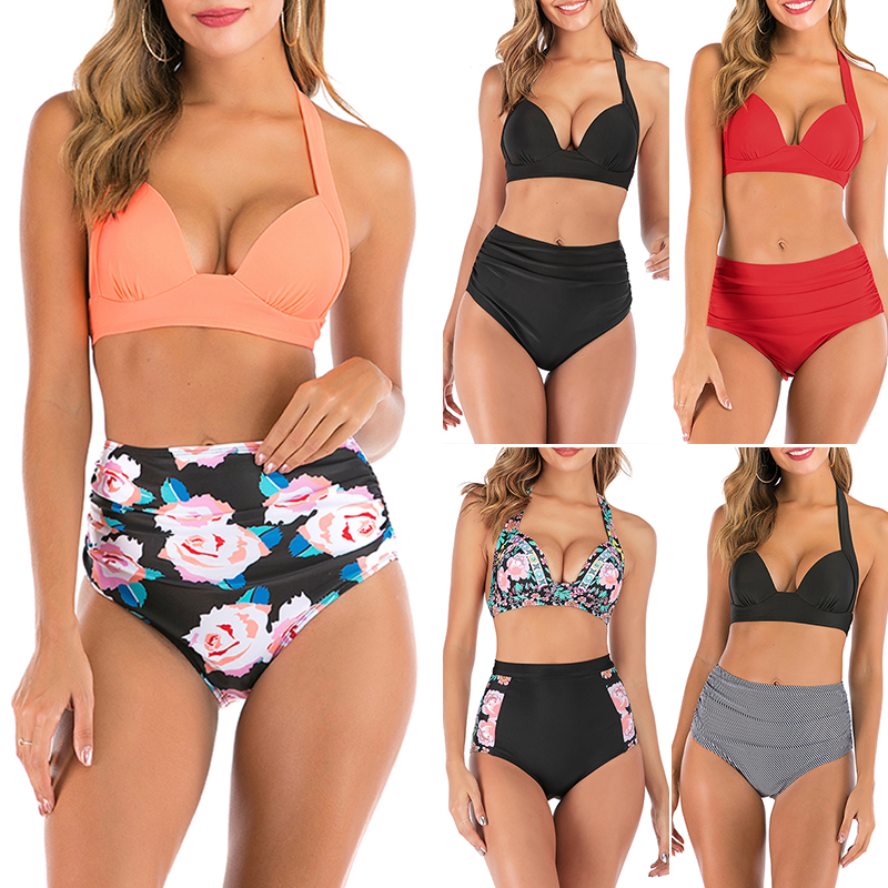 S-3XL Plus Size Swimwear Women High Waist Bikini Set Floral Print Swimsuit Female Push Up Bikinis Vintage Bathing Suit Bathers