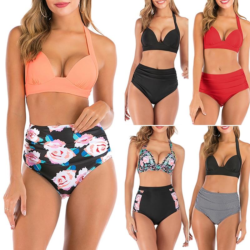 S-3XL Plus Size Swimwear Women High Waist Bikini Set Floral Print Swimsuit Female Push Up Bikinis Vintage Bathing Suit Bathers