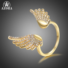 AZORA Angel Wings Crystal Rings for Women Clear Cubic Zirconia Wedding Rings Girl Elegant Engegament Gift Fashion Jewelry TR0241 fantasy flower cute fairy rings elf angel cubic zirconia wings gold plating two toned women wedding ring gift jewelry d20