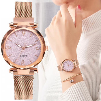 Rose Gold Women Watch 2021 Top Brand Luxury Magnetic Starry Sky Lady Wrist Watch Mesh Female Clock For Dropship relogio feminino image