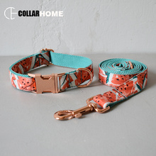Watermelon dog collar leash for medium big dogs pet necklace with bow tie adjustable metal buckles Christmas decorations gifts watermelon nylon dog collar leash for medium large dogs pet necklace with bow tie adjustable rose god buckles christmas gift