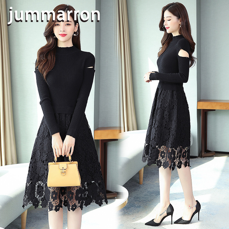 jummarron 2020 new women's office style black <font><b>dress</b></font> knitted lace fake two piece long <font><b>dresses</b></font> women's <font><b>dresses</b></font> fall/winter image