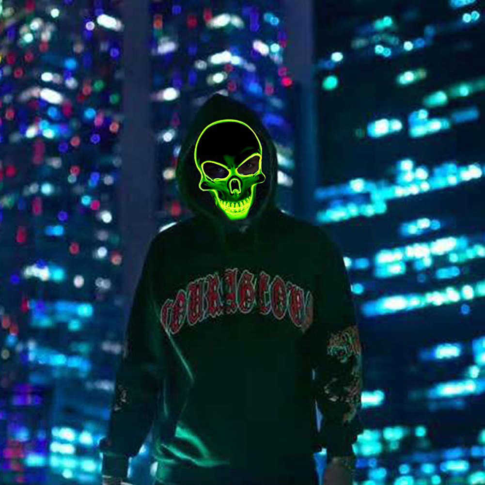 20 colori di Halloween Maschera LED DJ Del Partito della Luce Up Maschere Glow In Dark Spaventoso Mascherine di Travestimento Festival Del Cranio Mascara Luce maschere