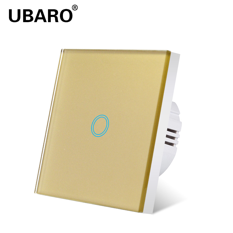 UBARO EU Standard Gold White Black Crystal Glass Panel Light Lamp Wall 220V Switches 1Gang 1Way Blacklight Display Touch Switch