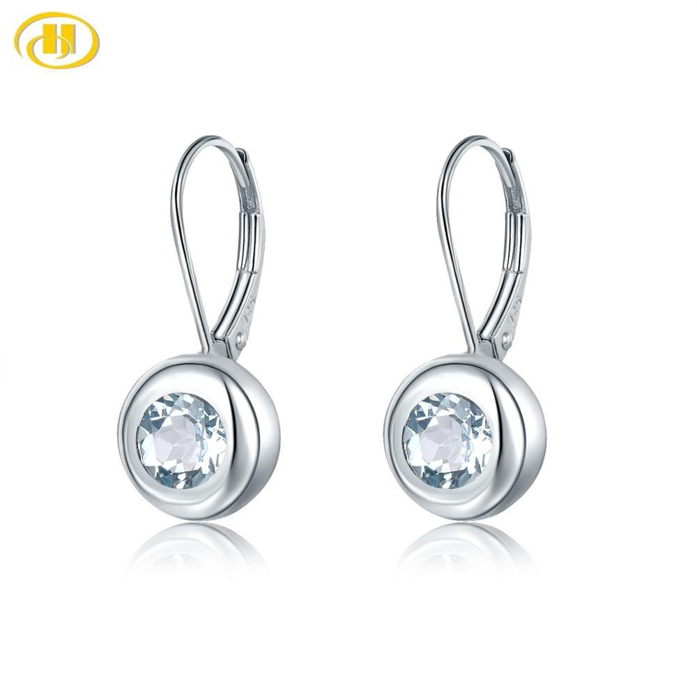 Hutang naturel aigue-marine femmes clips boucles d'oreilles solide 925 argent Sterling bleu pierre précieuse Fine élégante bijoux de mariée nouveauté