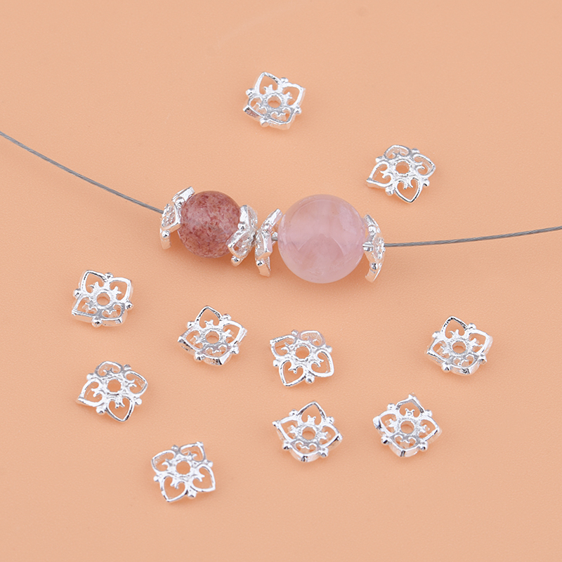 925 Pure Silver , Flower, Beads, Septa, Handmade DIY Beading Material Crystal Bracelet Accessories