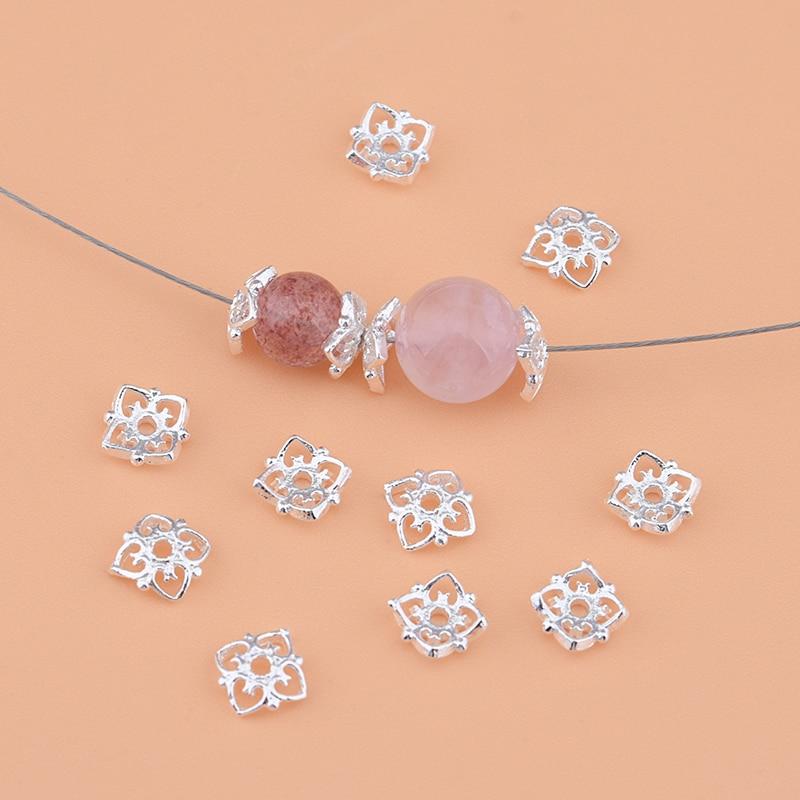 925 Pure Silver , Flower, Beads, Septa, Handmade DIY Beading Material Crystal Bracelet Accessories