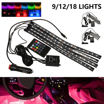 Car Interior Atmosphere LED RGB Strip Light Dash Floor Foot RGB LED Strip Decorative Light Music Sound Control Multiple Lighting new universal car interior decorative atmosphere neon light led multi color rgb voice sensor sound music control decor lamp dxy8