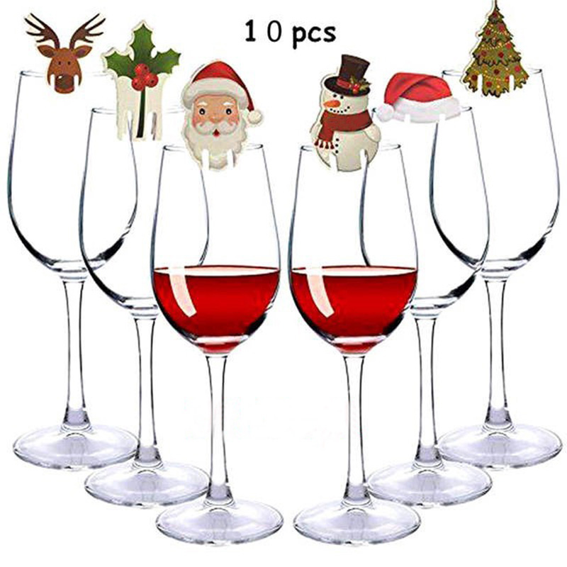 10pcs Christmas Decorations for HomeGlass Sign Flag Xmas Happy New Year Party Dinner Toothpick Flag Food Ornaments kerst 2020(China)
